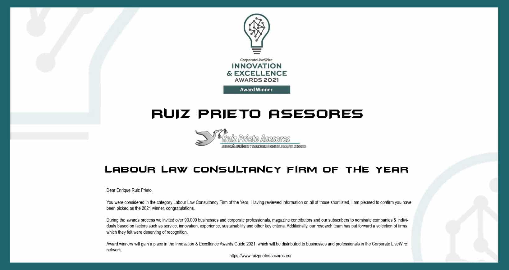 Corporate LiveWire Innovation & Excellence Awards 2021 in the category Labour Law Consultancy Firm of the Year