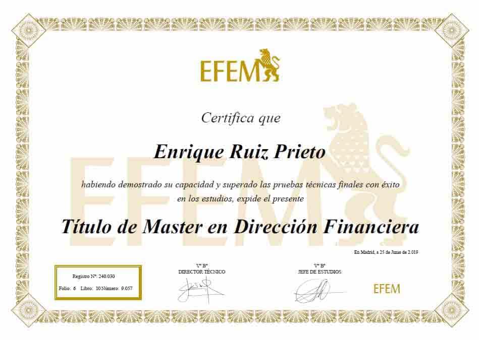 Máster de Dirección Financiera y contabilidad financiera