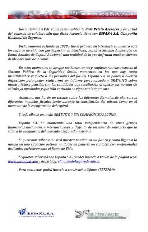 Carta de colaboración de Ruiz Prieto Asesores y España S. A.