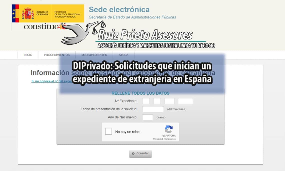 Solicitudes que inician un expediente de extranjería en ESPAÑA (DIPriv)