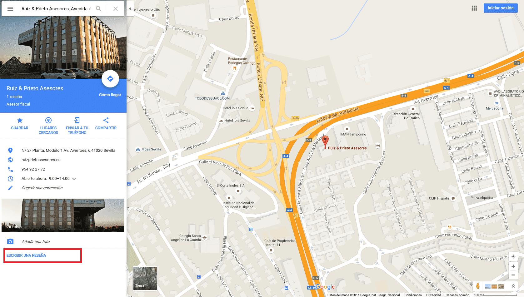 ficha de negocio en google maps